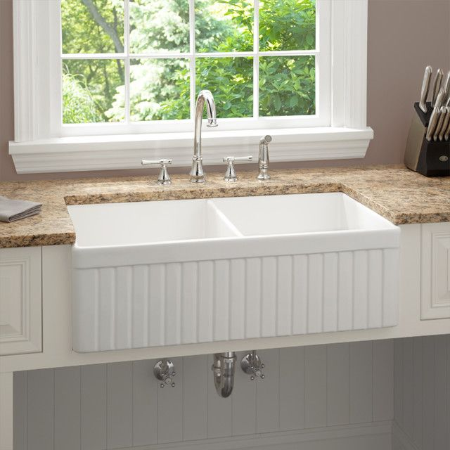 Baldwin Double Bowl Fireclay Farmhouse Kitchen Sink, Fluted Apron    Traditional   Kitchen Sinks   By Signature Hardware