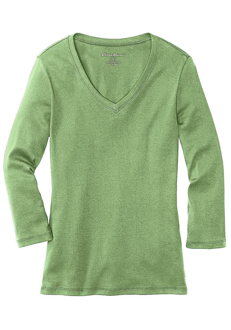Produkttyp , Shirt, |Optik , Uni, |Stil , Basic, |Ärmelstil , 3/4-Arm, |Passform , Figurbetont, |Bündchen , Keine, |Ausschnitt , V-Ausschnitt, |Kragen , Ohne, |Gesamtlänge , Länge Gr. M ca. 64 cm., |Material , Baumwolle, |Materialzusammensetzung , 100% Baumwolle., |Pflegehinweise , Maschinenwäsche, | ...