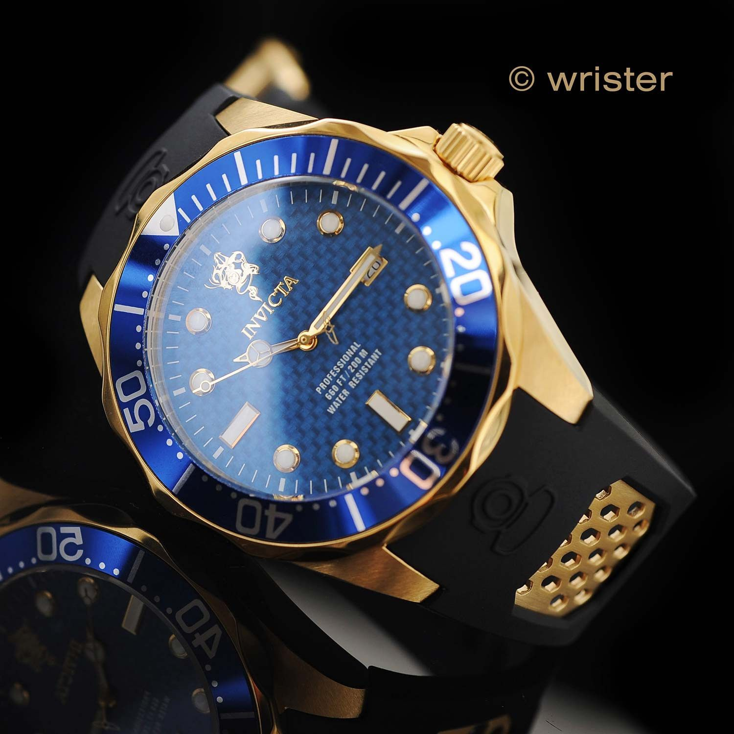 Invicta Sea Base 47mm Blue, Gold, and Black Sports Watch