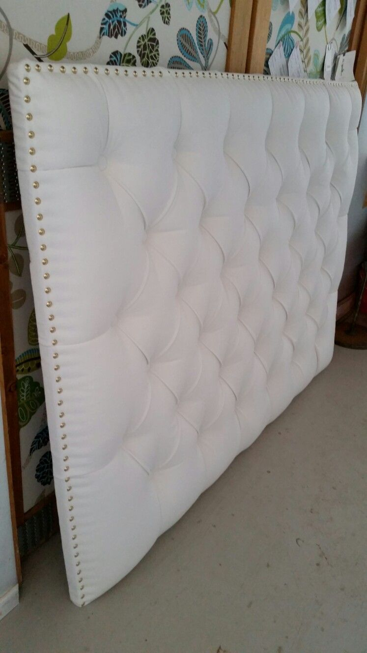 White Tufted Upholstered Headboard Gold Nail Heads Custom Wall Mounted Tufted Upholstered Headboard Upholstered Headboard Custom Wall
