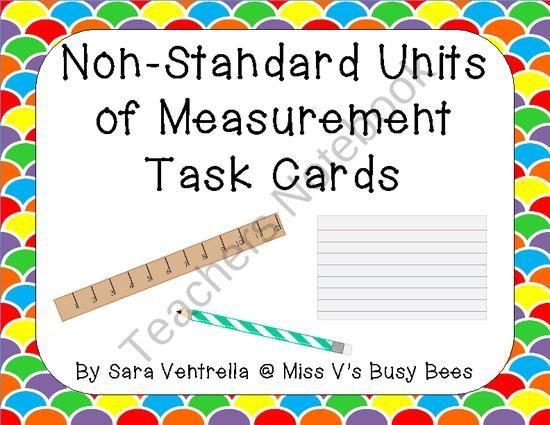 Non Standard Units Of Measurement Task Cards Freebie