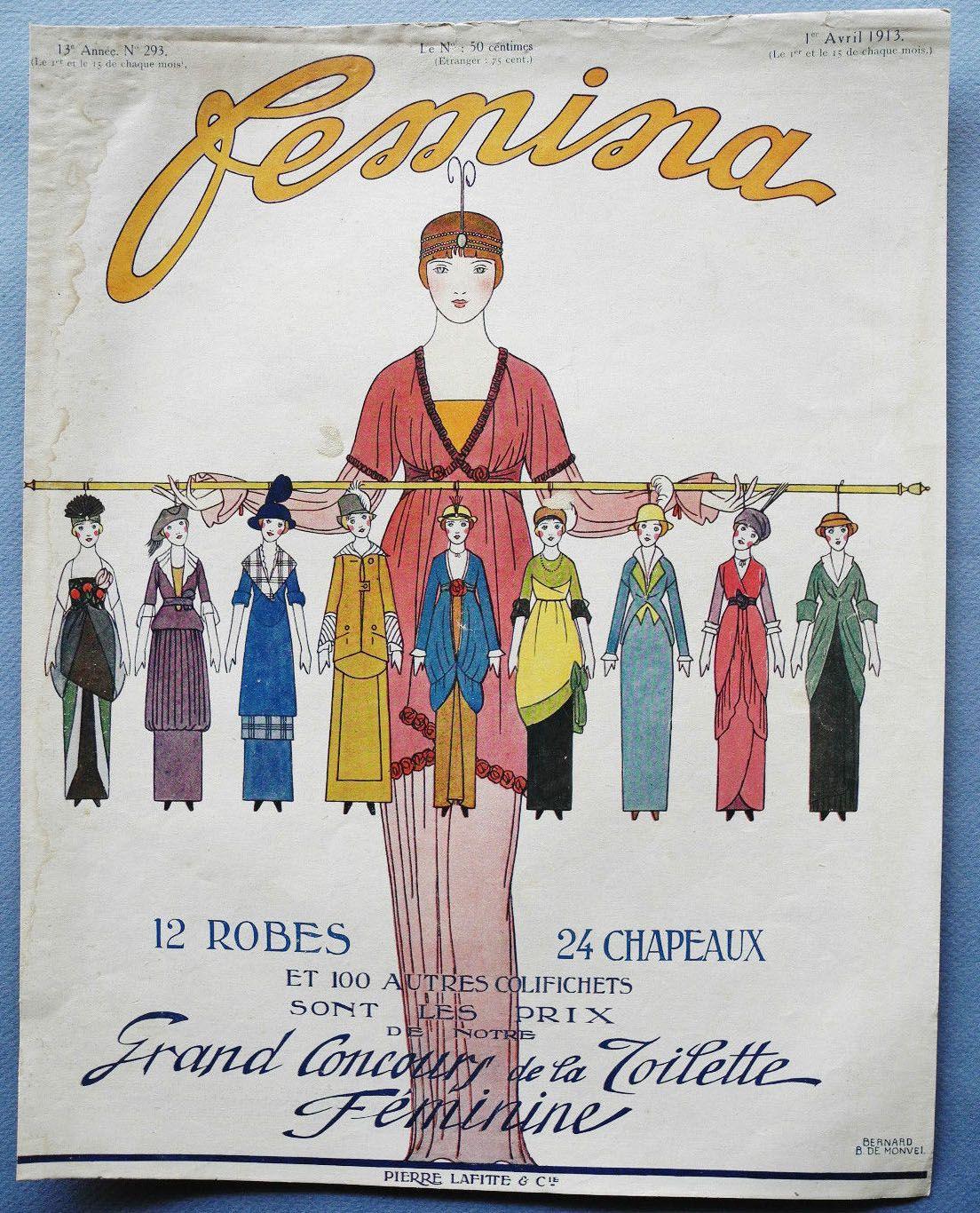 Femina magazine 1913 - cover design by Bernard B. de Monvel