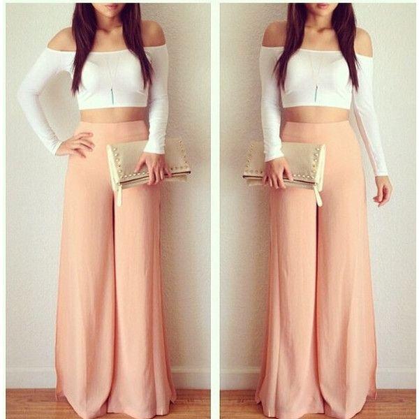 Pants: peach plain color plazzo wide-leg high waisted ❤ liked on ...