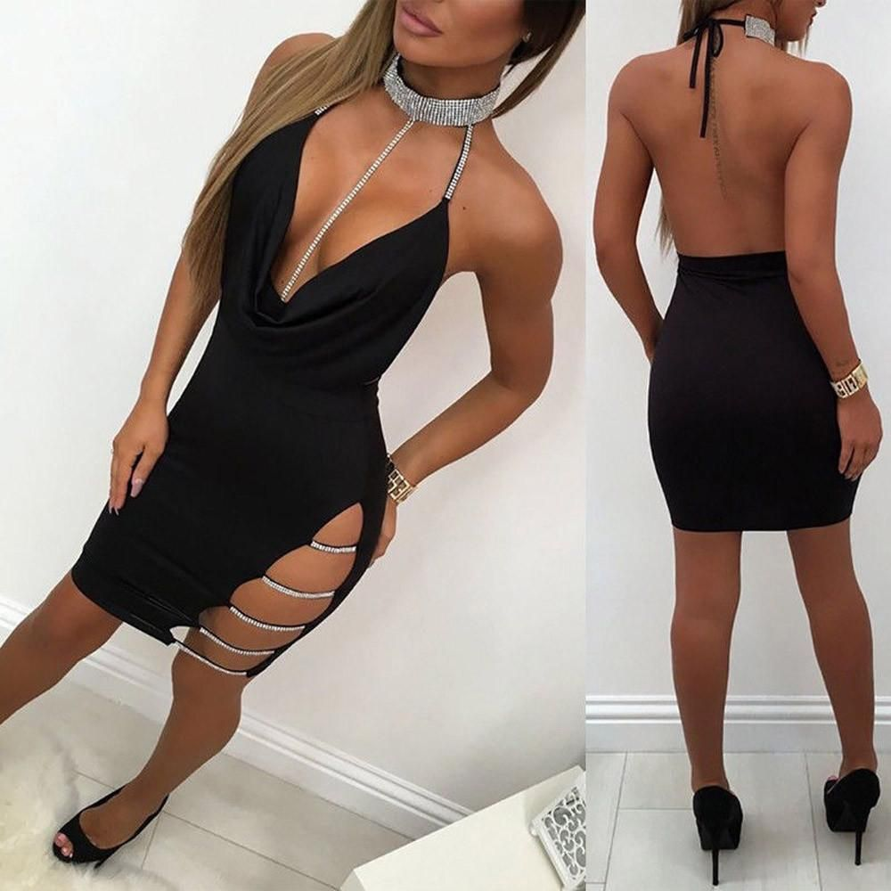 a56c55d1 Womens Deep V Neck Halter Backless Choker Slit Sequin Bodycon Mini Dress