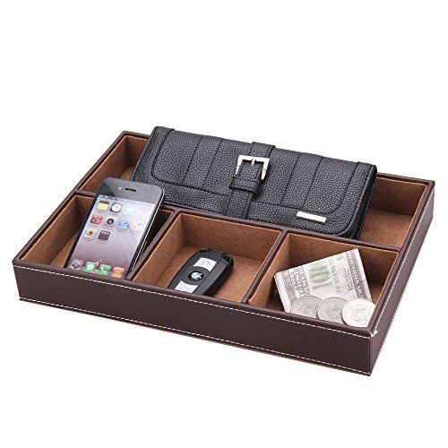 5 Compartment Leatherette Organizer Box For Wallets Coins Keys