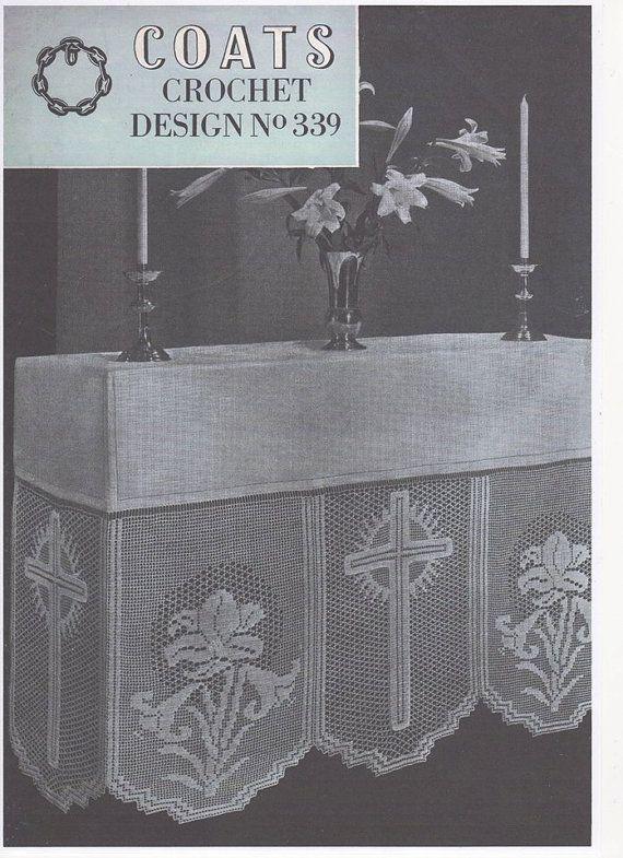 Crochet Altar Cloth Cross And Lily Panel No 20 Crochet