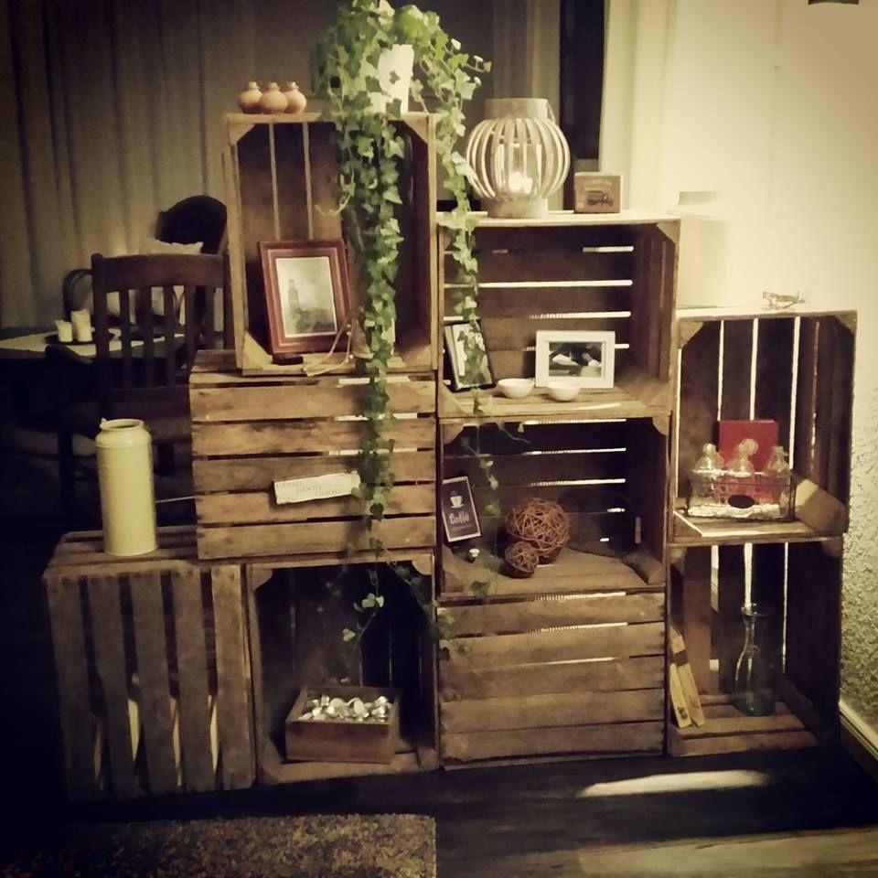 4er paket dunkle obstkisten weinkisten holzkisten. Black Bedroom Furniture Sets. Home Design Ideas