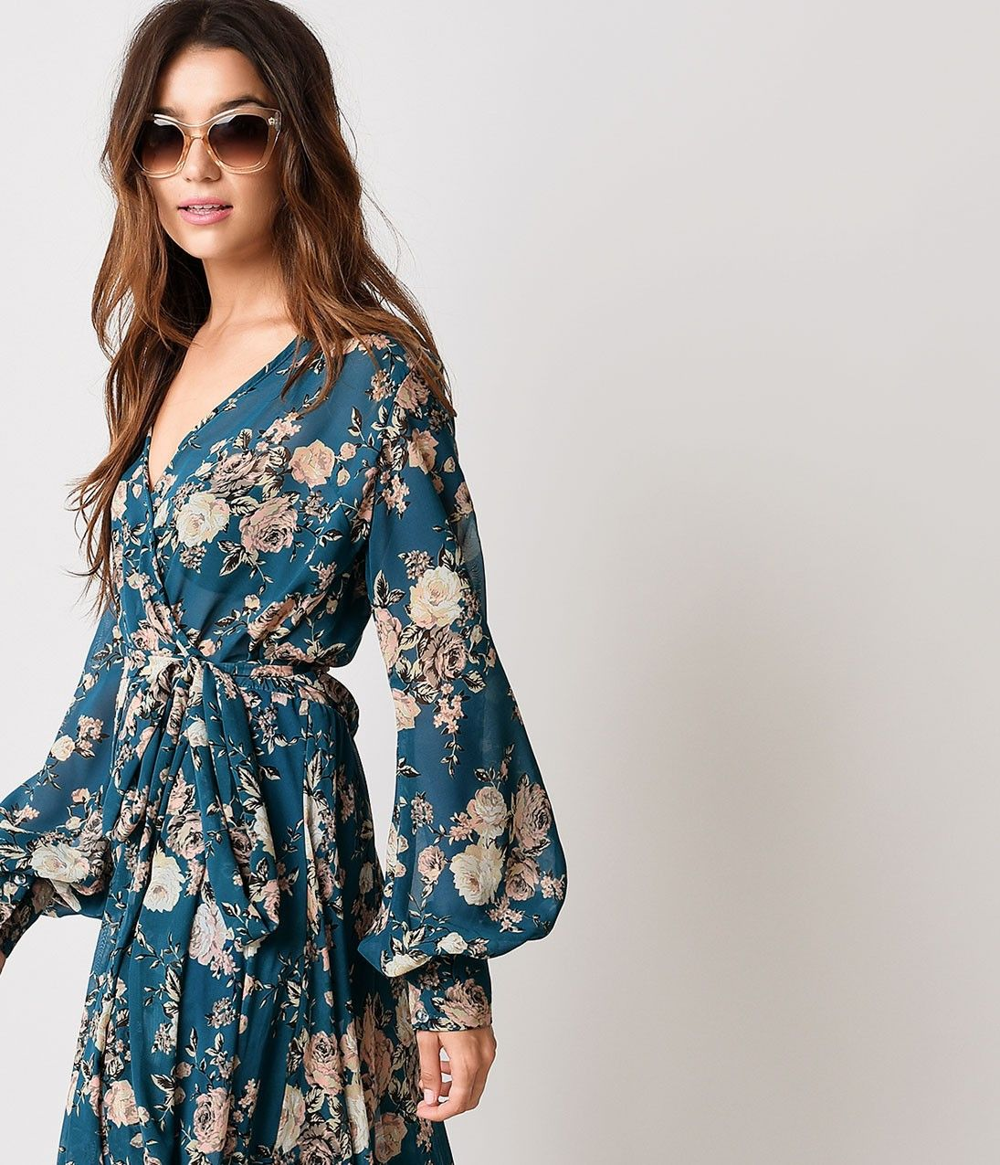 1970s style teal rose floral long sleeve maxi dress the