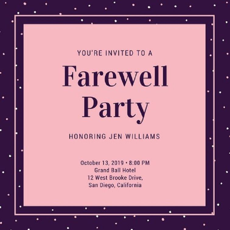 farewell party invitation for principal Party Invitation Card in