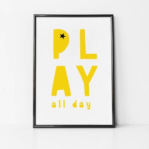 Jouez toute la journée impression de chambre de bébé, impression de chambre de bébé jaune, décor monochrome, salle de jeux, …