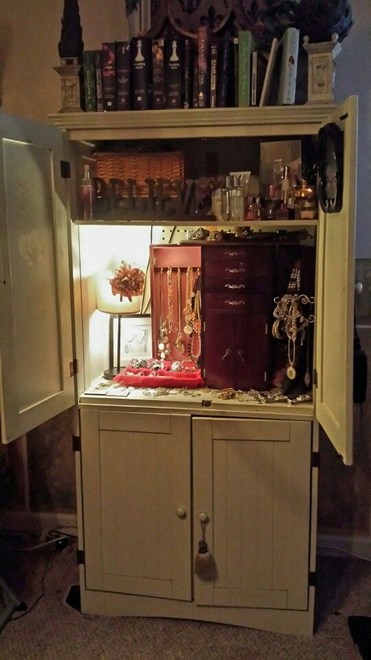 TV Armoire repurposed to Jewelry Armoire loveit Organize Clean