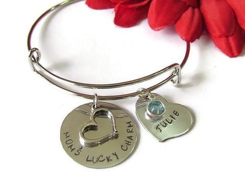 Personalized charm Bracelet, Mom's Lucky Charms, Heart & Birthstone Jewelry, Bangle Bracelets