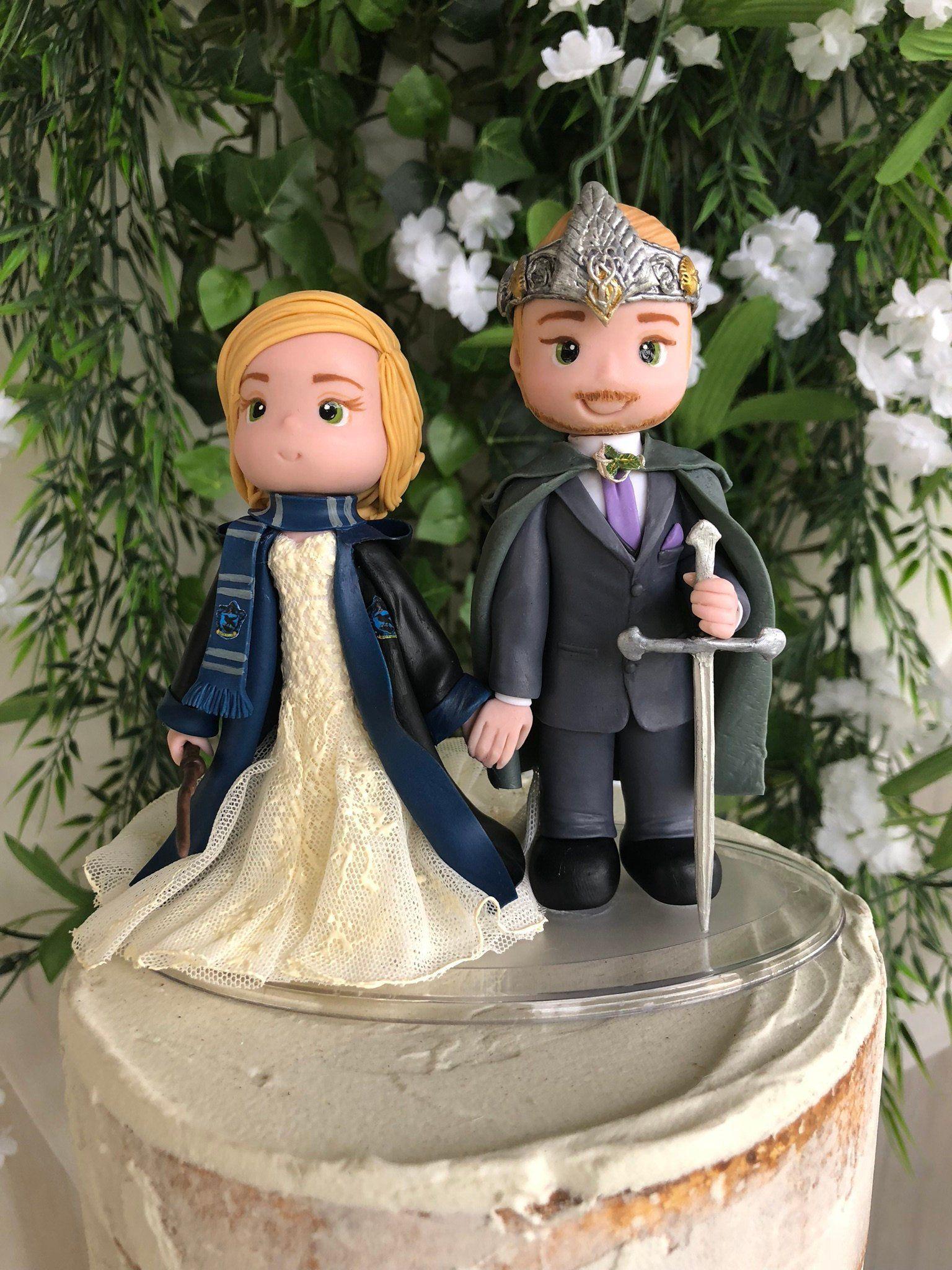 Aragorn And Ravenclaw Wedding Cake Topper Figurine Wedding Cake