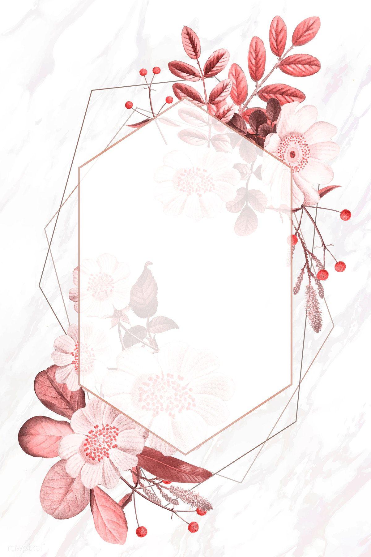 Download premium illustration of Pink floral hexagon frame vector 939171