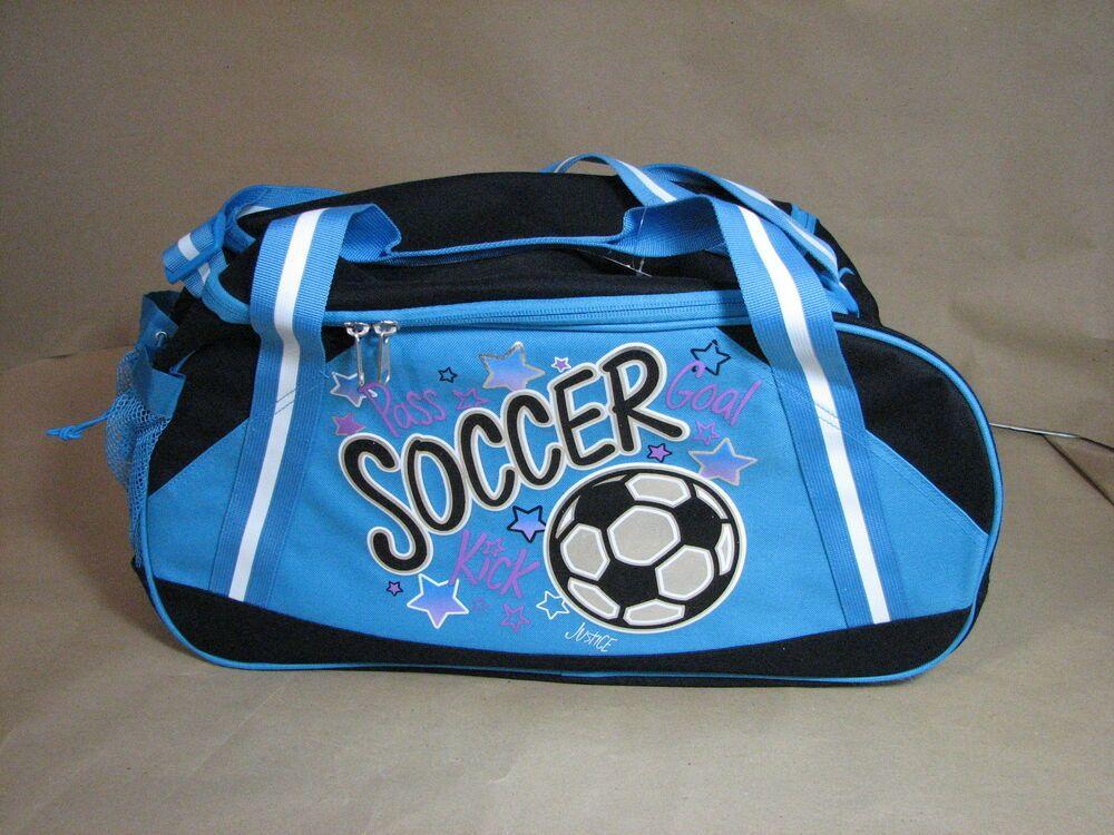 Justice soccer gym sports duffle bag blue black nwt new 19