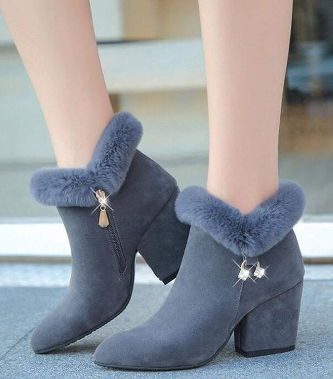 Ladies Womens Winter Fluffy Fur Ankle Boots Zip Casual Fashion Velvet Shoes Size