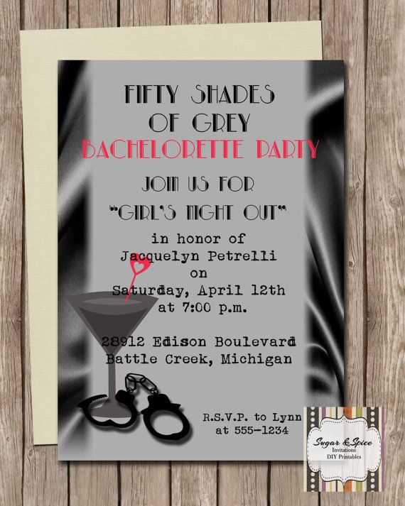 Fifty Shades Of Grey Bachelorette Invitation By Sugspcinvitations