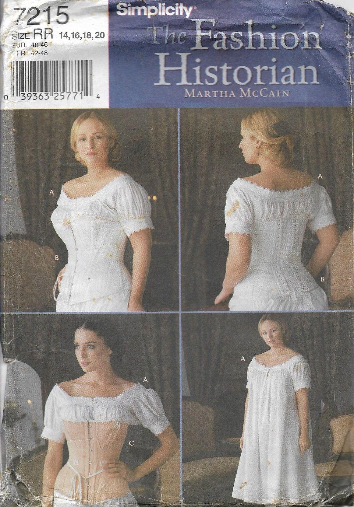 Simplicity 2890 Misses Civil War Drawers Chemise Corset Pattern 8-14 or 16-24