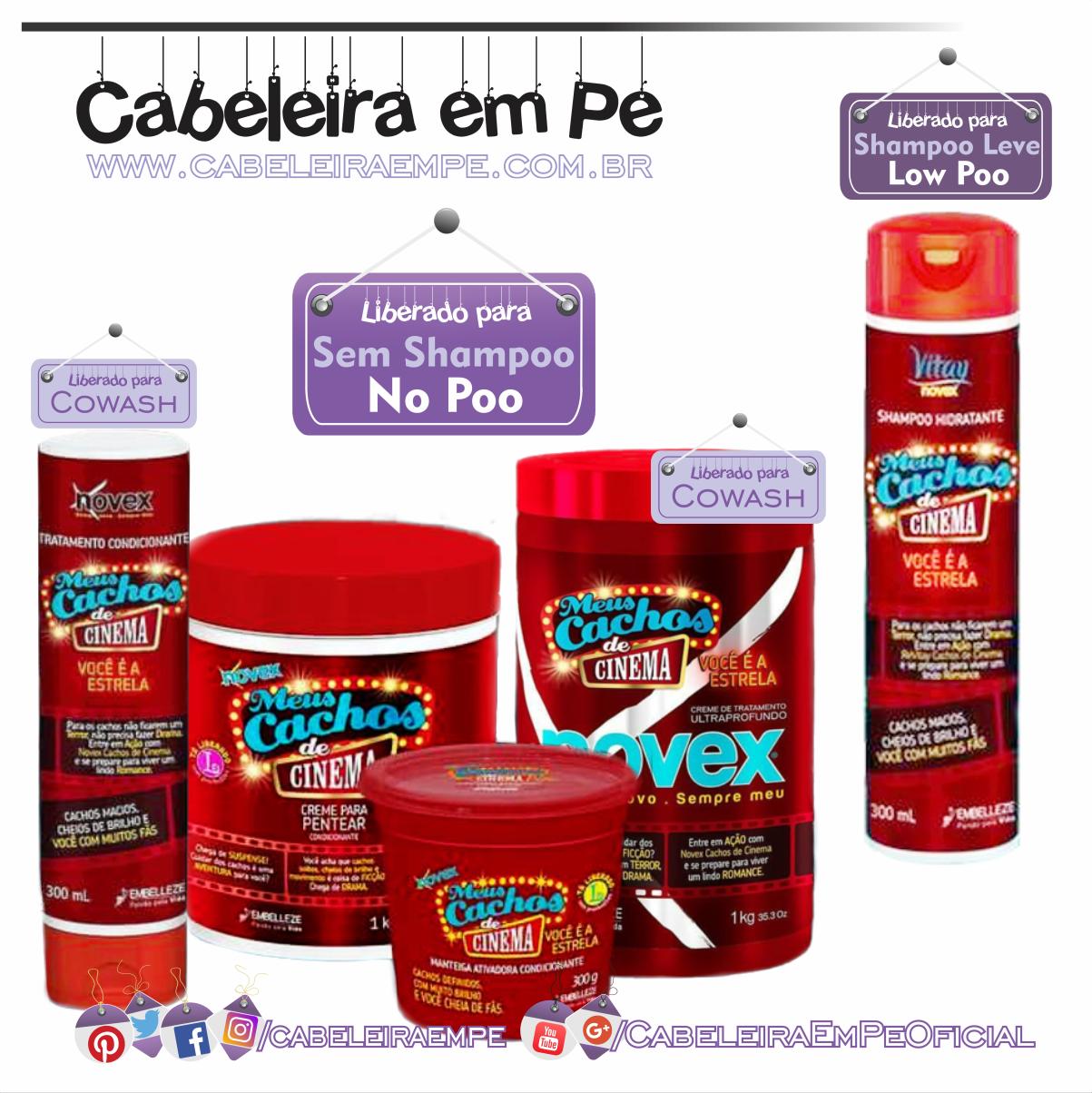 1a0f503fe Linha Cachos de Cinema - Novex (Embelleze) - Shampoo Liberado para Low Poo -