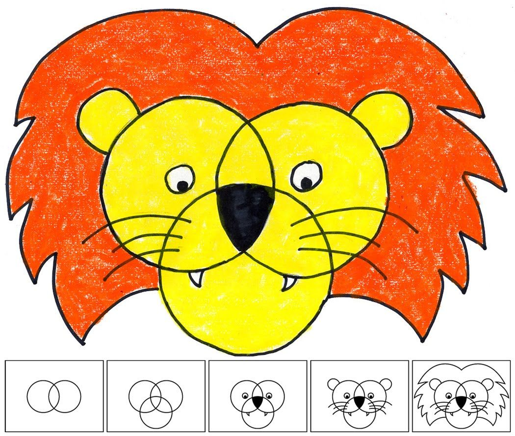 art projects for kids how to draw a lion - Basic Drawings For Kids
