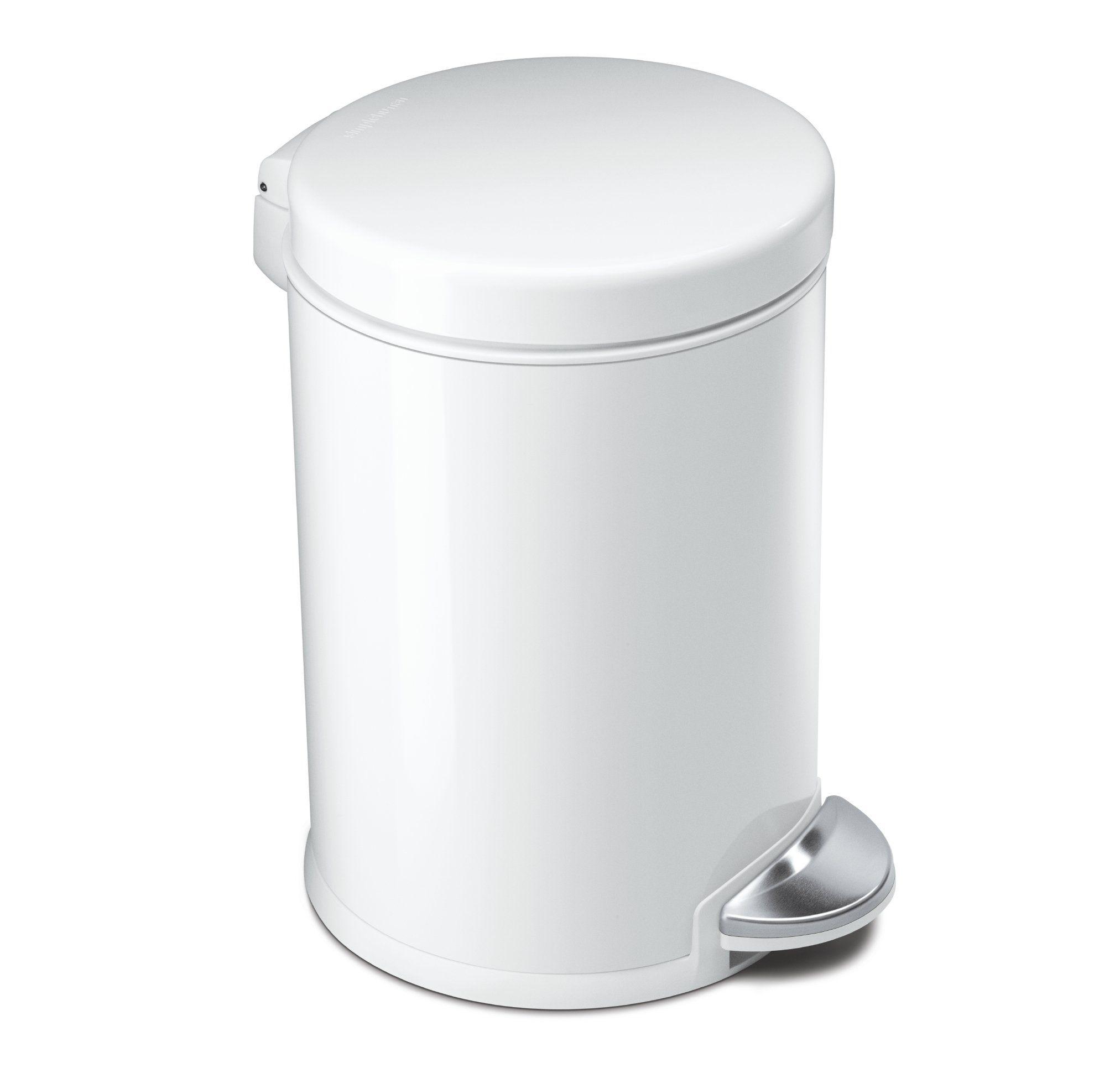 Simplehuman Mini Round Step Trash Can White Steel 4 5 L 1 2 Gal Kitchen Trash Cans Modern Kitchen Trash Cans Trash Can