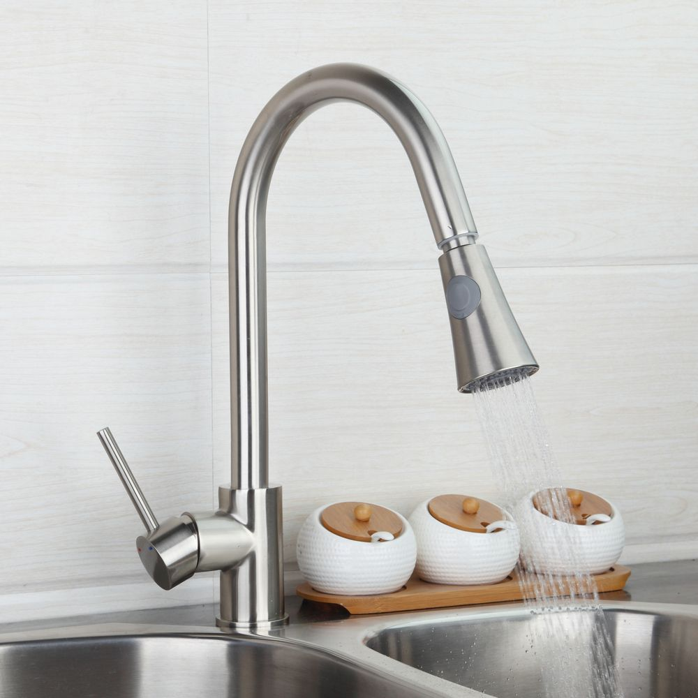 best nickel brushed kitchen pull out faucet luxury type washbasin sink mixer tap with double water way spray torneira