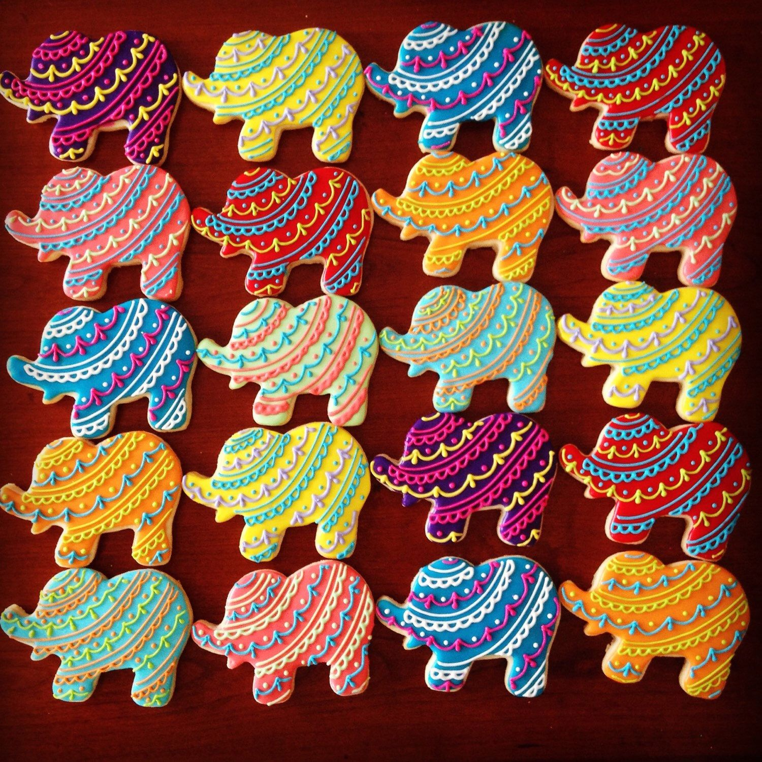Bollywood Elephant Decorated Cookie Favors | Elephant ...