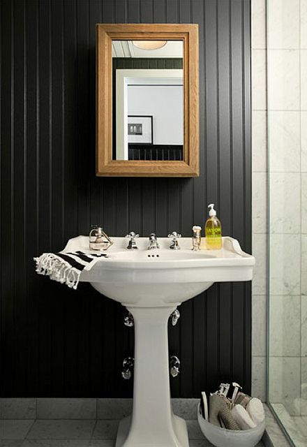 The Brooklyn Home Company Emily Gilbert Eclectic Black And White Rustic Art Deco Modern Bathroom Bead Board Walls Beadboard Backsplash Wainscoting Styles