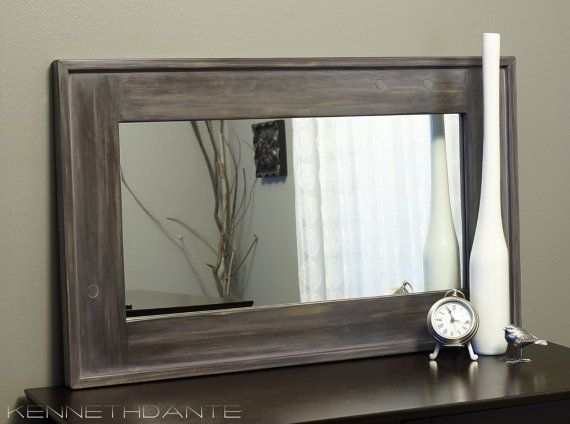 Streaky Weathered Rustic Wood Framed Mirror Farmhouse Barn
