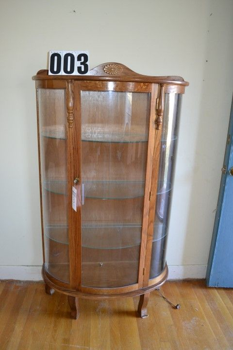 Lot 3 Curio Cabinet With Light Gl Shelves Locking Door And Key