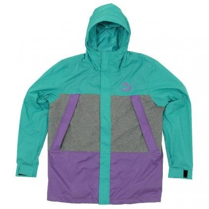 Puma purple and turquoise wind breaker mens Jacket in ceramic green