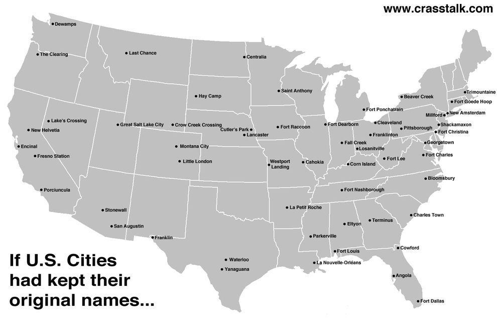 A map of the US with the original city names  38 Maps You