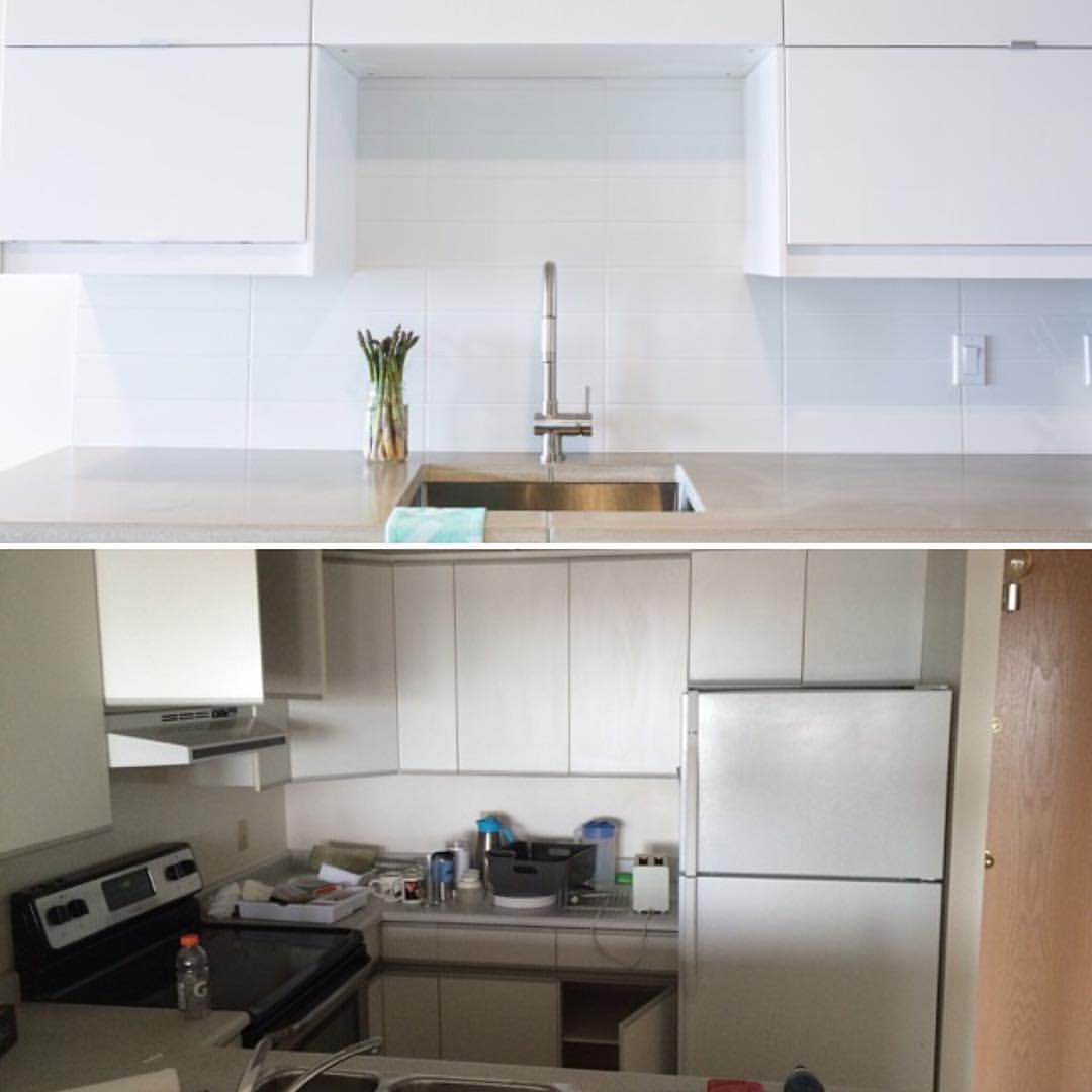 Before & after condo kitchen renovation photo. See this Instagram photo by @henrydesignbuildlive • 22 likes