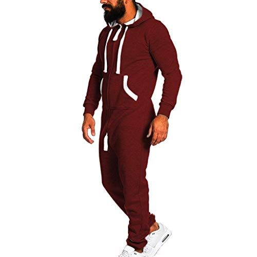 5599d42823 Men s Fashion Onesie Jumpsuit one Piece Non Footed Pajamas Unisex-Adult  Hooded Overall Zip up