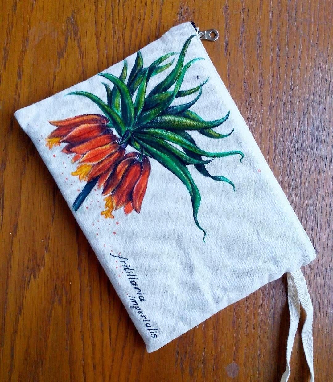 Fritillaria Imperialis Ters Lale 25x18cm Kumas Boyama Paka Pakaconcept Kalkan Kas Art Design Desen Drawing Bag Atolye A Drawing Desenler Cizim