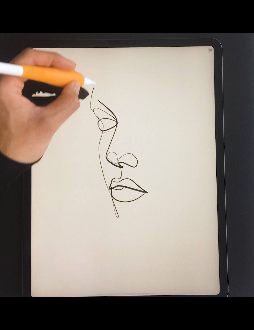 Using line art technique to draw portraits and faces in a single line.