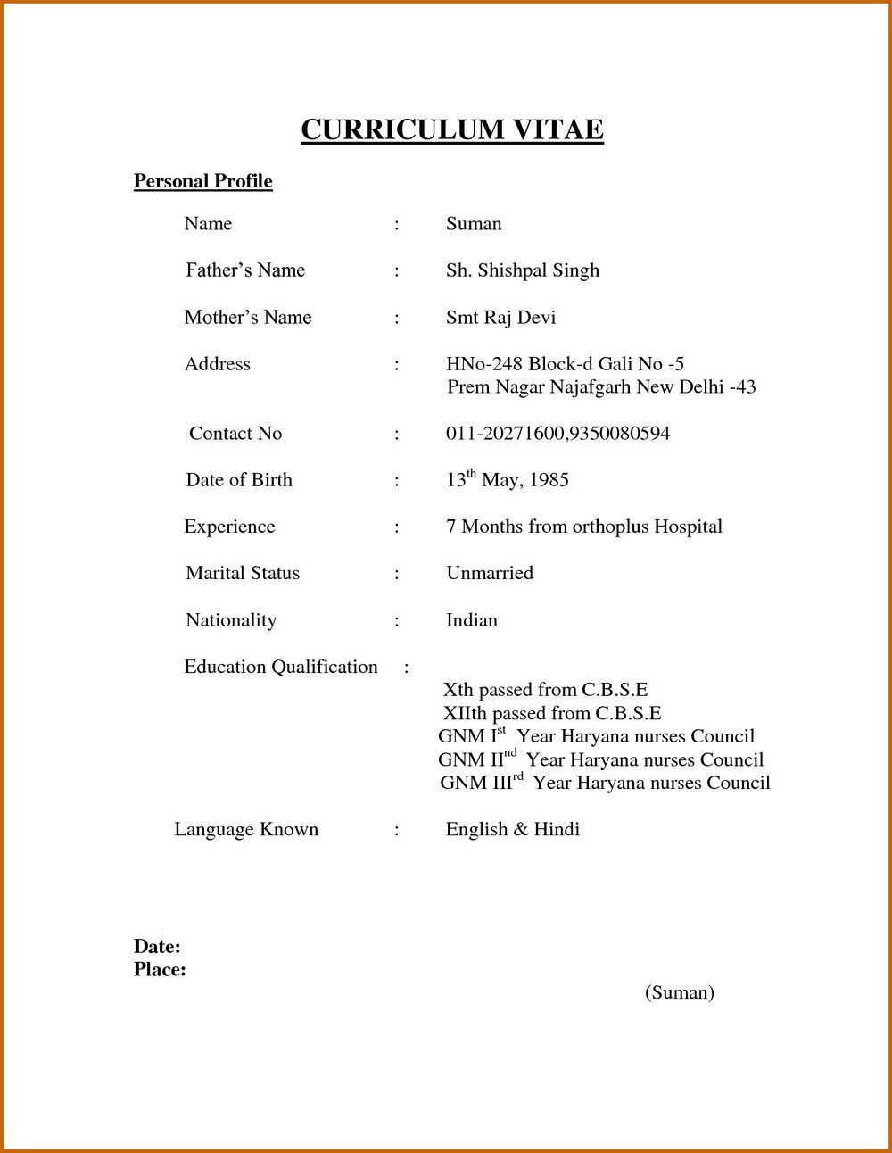 Simple Resume Format Creativeresumeideas Simple Resume Format