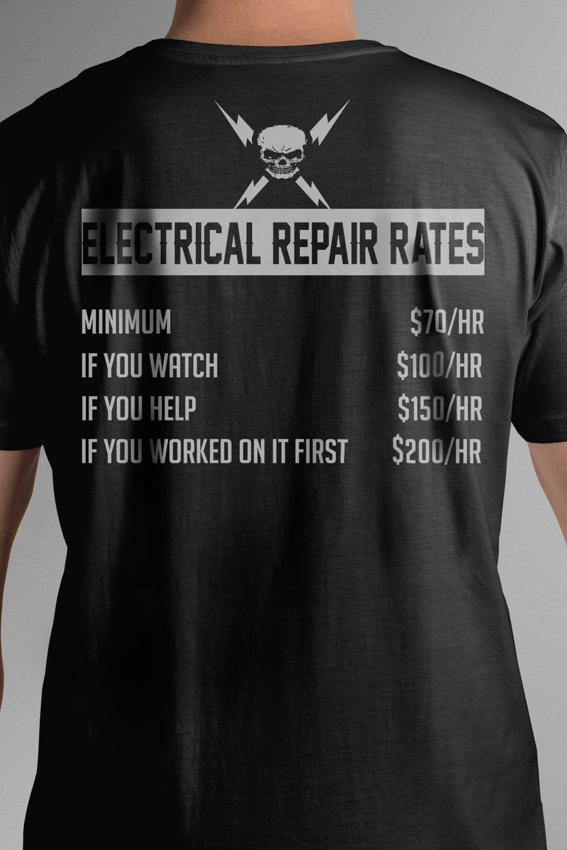 b649552a Electrician Tee Electrical Repair Rates - Electrician Gift - Design  available on Tee Shirt Hoodie Tank Mug Sticker Long Sleeve .