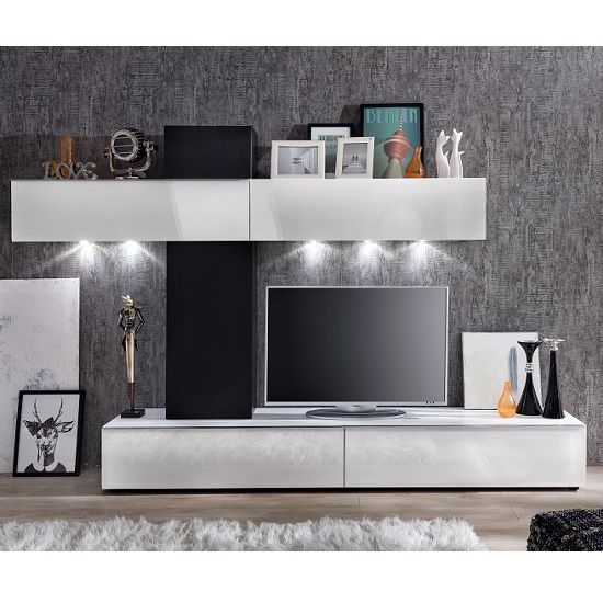Genial Bremen Living Room Wall Unit In White Gloss And Black With LED