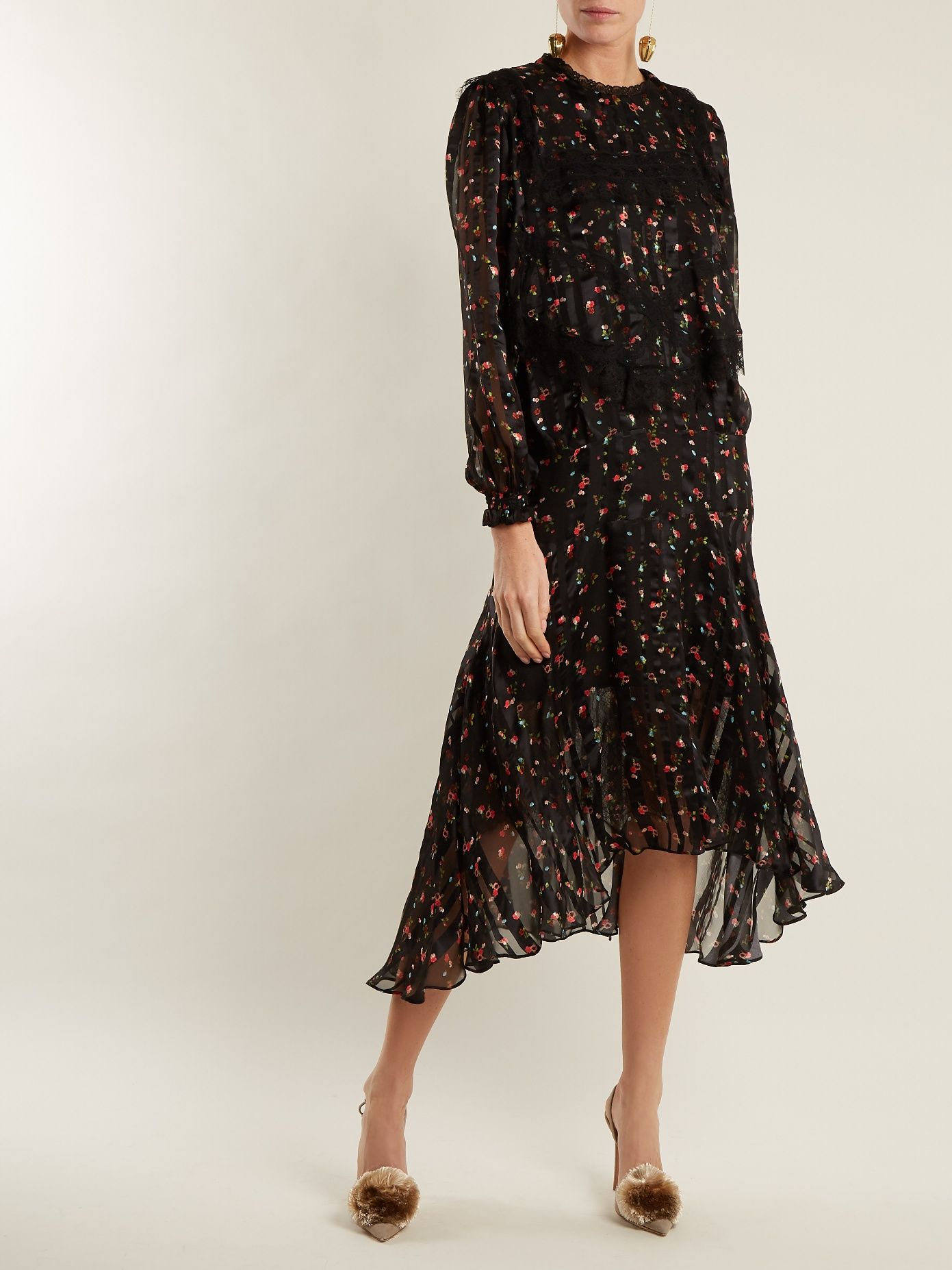Antoinette floral-print silk-devoré dress Preen For Cheap Nicekicks Online Cheap Pick A Best LhGloRn