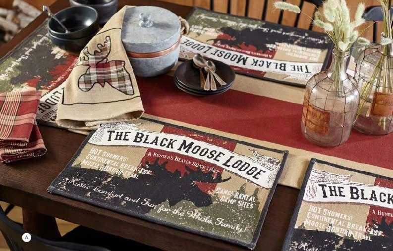 Black Moose Table Runner 72 Inch By Olivias Heartland 100% Cotton Cabin  Decor #OliviasHeartland
