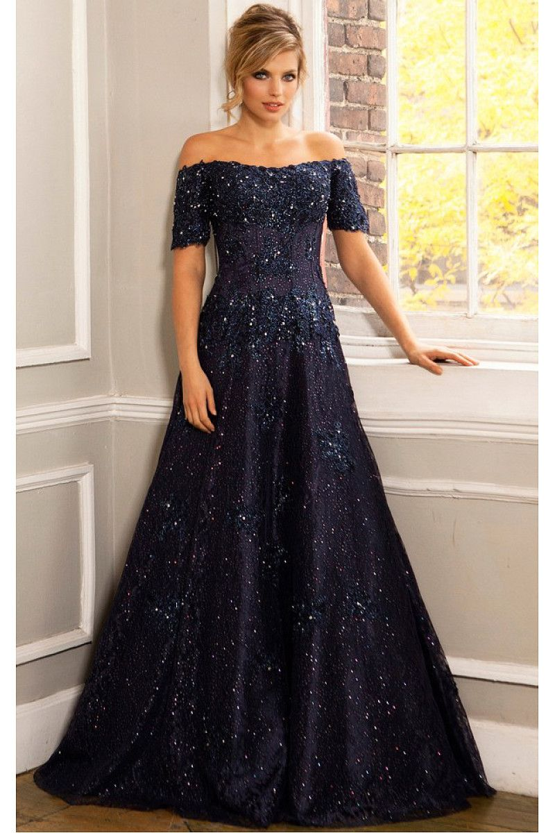 Gorgeous dark navy off the shoulder ball gown short sleeves evening