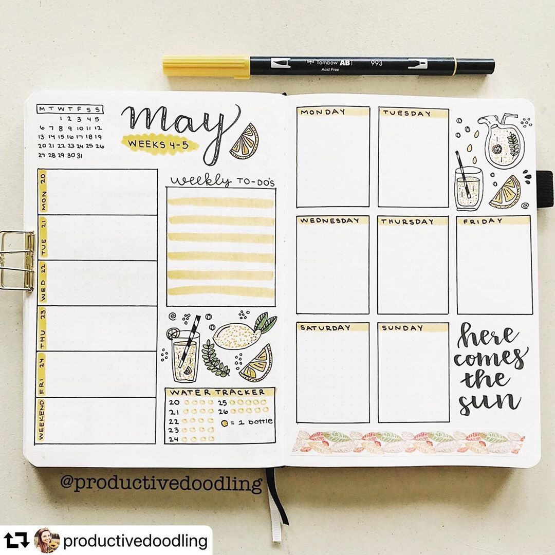 "Bujo.inspiration on Instagram: ""Comment your favourite pen � for bullet journaling � Credit : @productivedoodling � • • #stationery #bulletjournal #organisation #bujo…"""