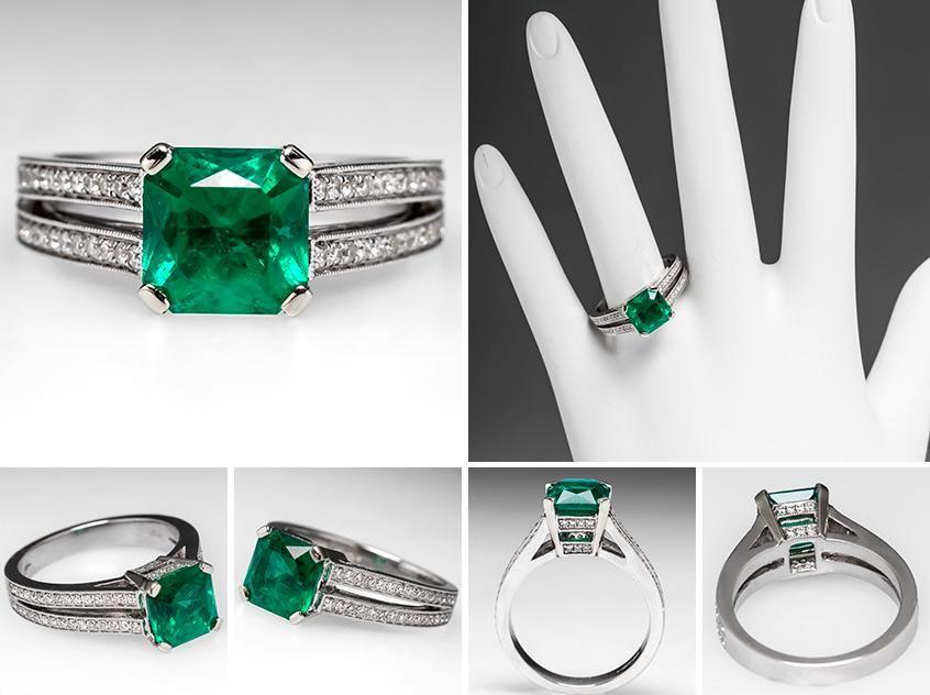 Natural Emerald Rings Natural Emerald Engagement Ring w Genuine