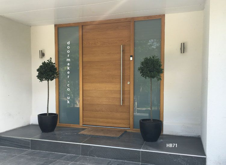 Contemporary oak door with sandblast sidelights pinteres for Modern exterior house entrance