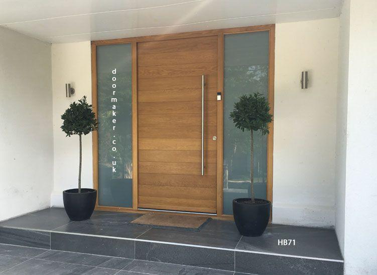 contemporary oak door with sandblast sidelights ...