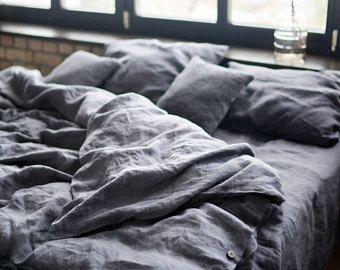 edec263769 Leinen Bettlaken, verwaschenes Leinen, aufgeweicht Leinen Bettwäsche,  Bettlaken, Bettlaken, dunkelgrau