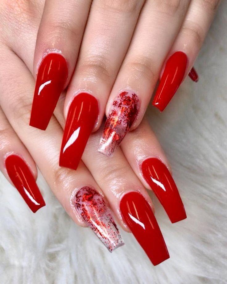 Inspiring Cute And Beautiful Red Acrylic Nail Designs 47 In 2020 Red Acrylic Nails Best Acrylic Nails Coffin Nails Designs