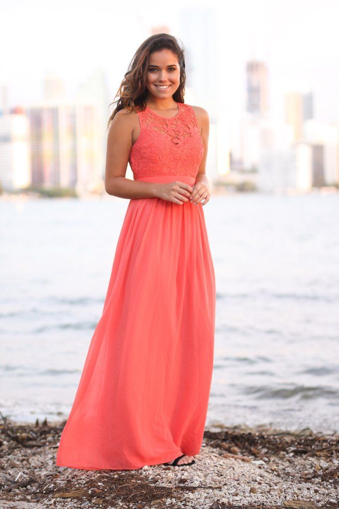 0bc0b7cbd5 Coral Crochet Maxi Dress with Open Back in 2019 | Wedding ...