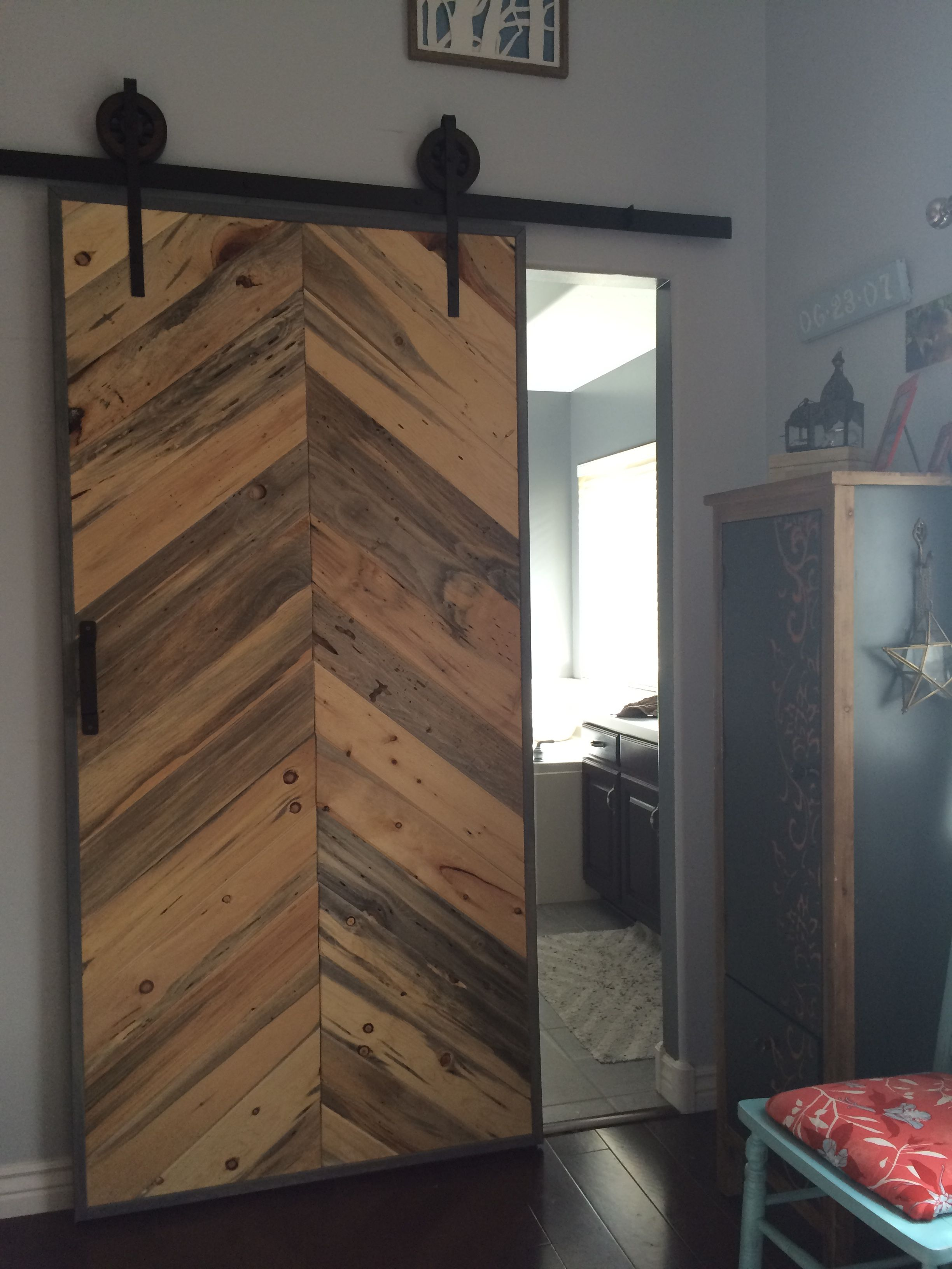More blue pine used as a sliding barn door looks great ideas for